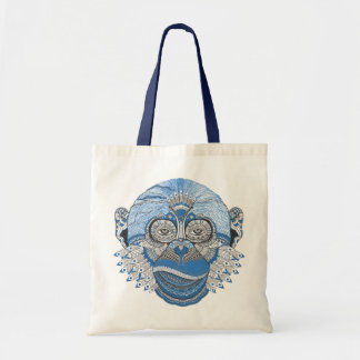 Tribal Abstract Monkey Face Design Tote Bag