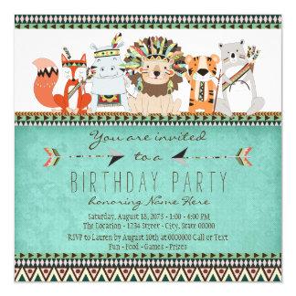 "Tribal Animal Kids Native American Birthday Party 5.25"" Square Invitation Card"