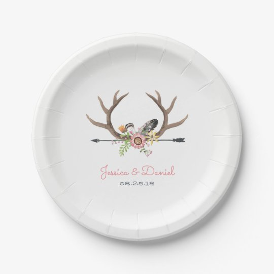 Tribal Arrow and Antlers 7 Inch Paper Plate
