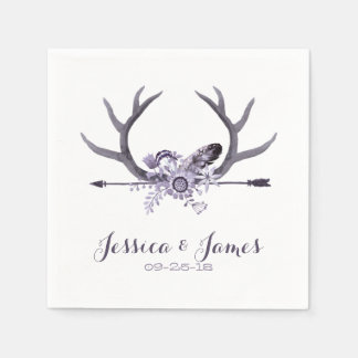 Tribal Arrow and Antlers Purple Disposable Napkins