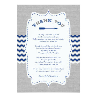 Tribal Arrow Baby Shower thank you note + poem Card