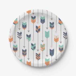 Tribal Arrow Blue Orange Green Paper Plates