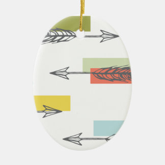 Tribal Arrow Geometric Modern Art Colorful Ceramic Oval Ornament