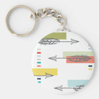 Tribal Arrow Geometric Modern Art Colorful Keychain