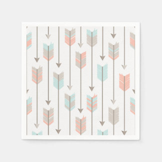Tribal Arrow Grey Pink Blue Paper Napkins