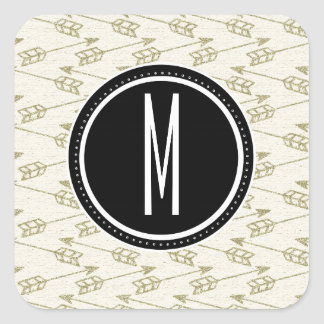 Tribal Arrows | Black Monogram Square Sticker