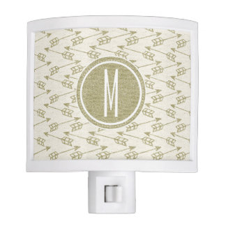 Tribal Arrows | Gold Glitter Monogram Night Light