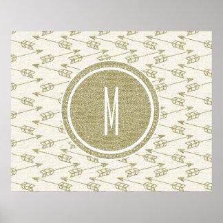 Tribal Arrows | Gold Glitter Monogram Poster