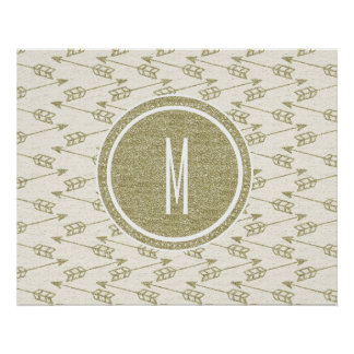 Tribal Arrows | Gold Glitter Monogram Posters