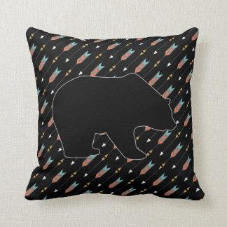 Tribal Arrows Pattern Bear Boho Hipster Black Teal Throw Pillow