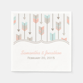 Tribal Arrows Pink Blue and Grey Wedding Paper Napkins