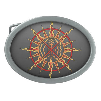 Tribal Art Belt Buckle Native Spiritual Sun Buckle