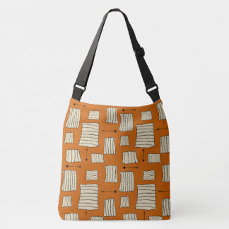 Tribal Art Pattern Arrows Shapes Tan Black Pumpkin Crossbody Bag