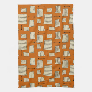 Tribal Art Pattern Arrows Shapes Tan Black Pumpkin Kitchen Towel