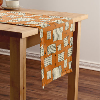 Tribal Art Pattern Arrows Shapes Tan Black Pumpkin Medium Table Runner