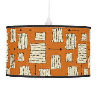Tribal Art Pattern Arrows Shapes Tan Black Pumpkin Pendant Lamp