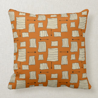 Tribal Art Pattern Arrows Shapes Tan Black Pumpkin Throw Pillow