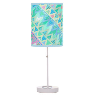Tribal Aztec Chevron Light Pastel Teal Aqua Orange Table Lamp