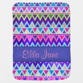 Tribal Aztec Chevron Pink Baby Blanket Name Custom