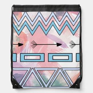 Tribal Aztec Geometric Art Watercolors Background Drawstring Bag