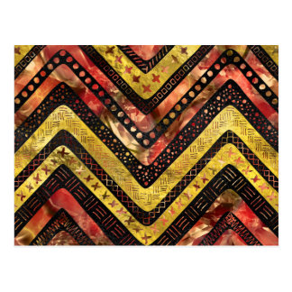 Tribal Aztec Gold and red glass pattern Postcard