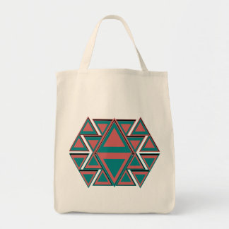Tribal Aztec Pattern Cotton Grocery Tote Bag