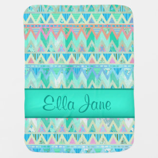 Tribal Aztec seafoam Green pink Baby Blanket Name
