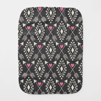 Tribal Aztec with Hearts & Arrows Burp Cloth