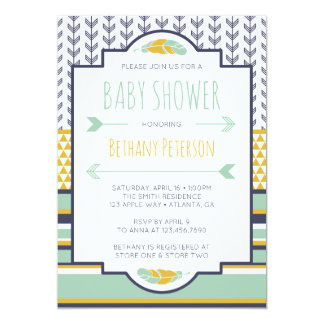 Tribal Baby Shower Invitation Aztec Arrows BOHO Card
