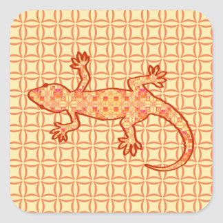 Tribal batik Gecko - coral and light orange Square Sticker