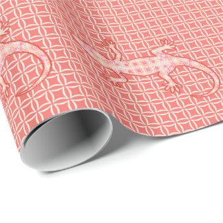 Tribal batik Gecko - coral pink and cream Wrapping Paper