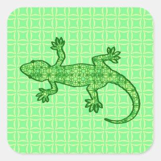 Tribal batik Gecko - lime and emerald green Square Sticker