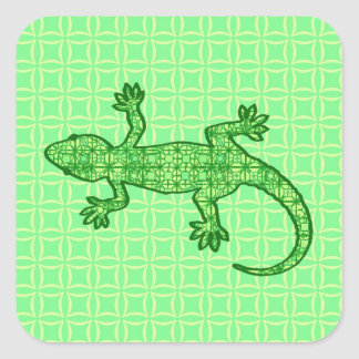Tribal batik Gecko - lime and emerald green Stickers