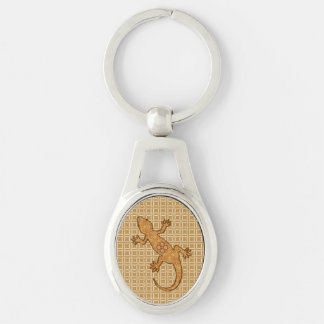 Tribal batik Gecko - rust, amber and tan Silver-Colored Oval Keychain