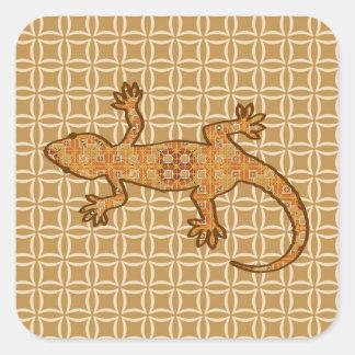 Tribal batik Gecko - rust amber and tan Sticker