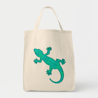 Tribal Batik Gecko - Turquoise and Aqua Tote Bag