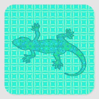 Tribal batik Gecko - turquoise / peacock Square Sticker