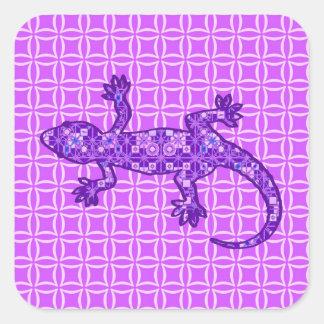 Tribal batik Gecko - violet and amethyst purple Square Stickers