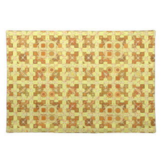 Tribal Batik - golden yellow, brown and tan Placemat