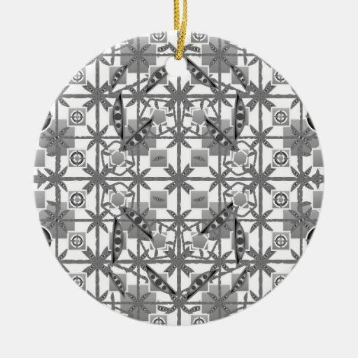 Tribal Batik - grey / gray, black and white Christmas Ornaments