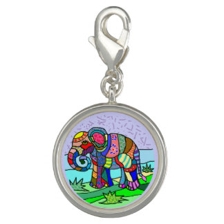Tribal batik hippie colorful elephant painting photo charms