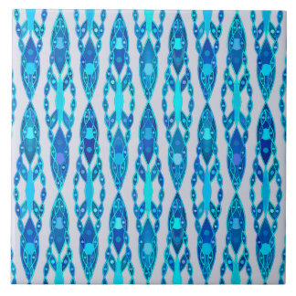 Tribal Batik - Sapphire Blue and Silver Grey Tile