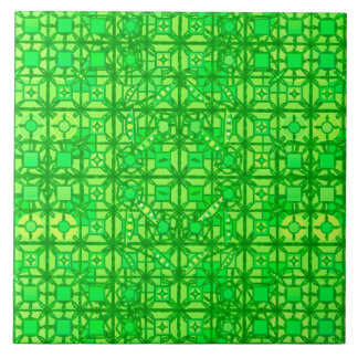 Tribal Batik - shades of emerald green Tile