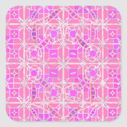 Tribal Batik - shades of pink and orchid Square Stickers