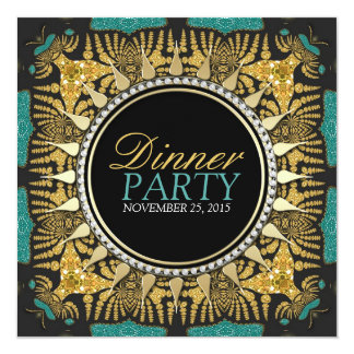 Tribal Batik Teal Gold Black Dinner Party Card