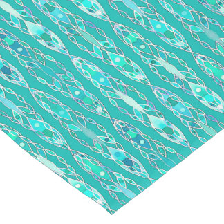 Tribal Batik - Turquoise and Aquamarine Short Table Runner