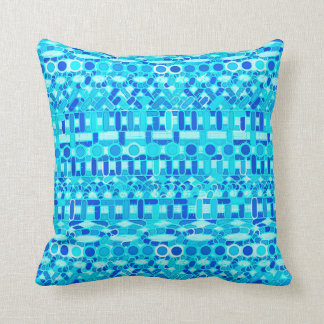 Tribal Batik - turquoise, aqua and cobalt blue Throw Pillow