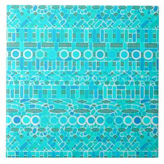 Tribal Batik - turquoise, aqua and grey Tile