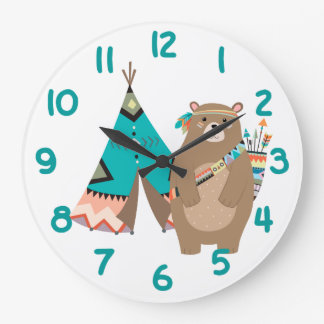 Tribal Bear and Tipi Teal Number Large Clock