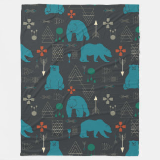 tribal bear fleece blanket